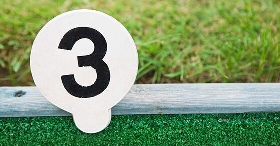"Golf tag with the number ""3"" sitting against a wooden divider of mini golf ground and grass"