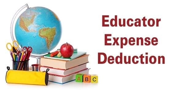 "School supplies, text books, an apple, and a world globe next to the words ""Educator Expense Deduction"""