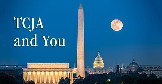 "Washington Monument, Lincoln Memorial and the Capitol Building lit up with the moon in the sky, ""TCJA and You"""