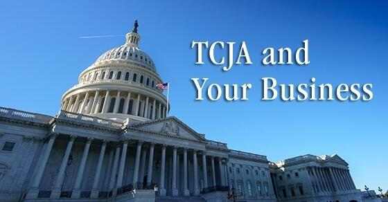 "State Capitol Building with words ""TCJA and Your Business"" next to it"