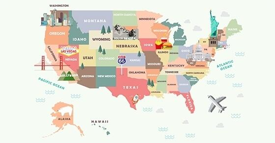Illustrated map of the United States of America.
