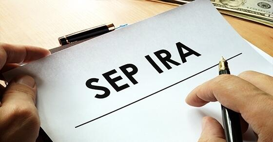 "Paperwork with ""SEP IRA"" at the top"