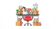 Graphic of desk covered in boxes and files.