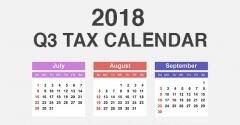 2018 Q3 Tax Calendar (July - September)