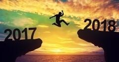 Man taking leap from 2017 to 2018