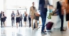 Traveling business professionals on the move